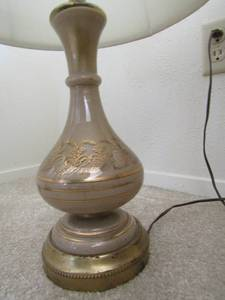 Paris design  metal base crystal with lamp shade AND glass and gold wheat pattern lamp with shade