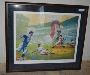 "Signed Joe DiMaggio Lithograph with Certificate of Authenticity (39"" x 34"" with Frame)(908/1000 Limited Edition)"