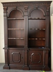 "LARGE Lighted 2 Piece Bookshelf and Cabinet by Legacy (5'3"" X 18"" X 7'5"" TALL)"