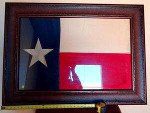 BEAUTIFULLY FRAMED UNDER GLASS - TEXAS STATE FLAG, FULLY SEWN CLOTH - APPROX 31 X 42""