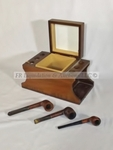 Solid walnut pipe humidor and tobacco pipes